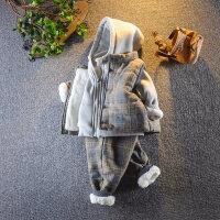 宝宝秋冬装4套装男童婴幼儿童装加绒1加厚2二3岁儿童卫衣三件套潮