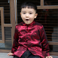 儿童唐装男童宝宝秋冬中国风中式演出服喜庆新年复古红色上衣外套