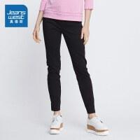 [尾品汇到手价:54.9元]真维斯简约休闲裤女 2018新款夏装时尚弹力修身紧身黑色简约休闲长裤