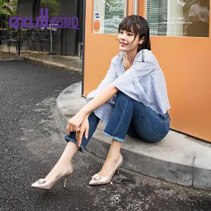 依思q新款高跟浅口单鞋细跟尖头鞋纯色套脚女鞋