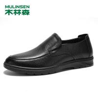 木林森男鞋春季商务休闲鞋套脚真皮鞋子SS97118