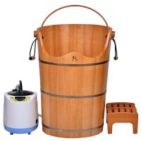 熏蒸桶泡脚木桶 橡木蒸汽足浴桶加高加热洗脚桶带盖汗蒸桶60