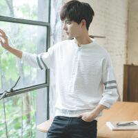 2018夏装季帅气个性韩版宽松半7七分袖短袖T恤男学生潮流衬衫上衣