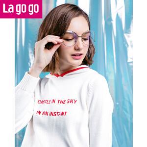 Lagogo2018春季新款针织上衣短款纯棉连帽字母印花长袖白色卫衣女