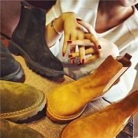 欧洲站秋季新款真皮短靴女经典纯色切尔西靴女鞋英伦风粗跟女靴潮