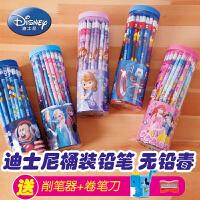 迪士尼铅笔小学生文具套装无毒铅笔50支桶装卡通学习用品批发幼儿园儿童写字hb绘画铅笔素描2比带橡皮擦头