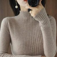 秋冬新款半高领毛衣女修身套头纯色显瘦打底衫长袖内搭紧身针织衫