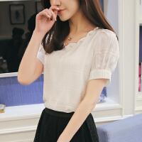 20180822151634861雪纺衫短袖女短款夏季韩版百搭宽松显瘦小衫气质淑女配裙子的上衣 白色