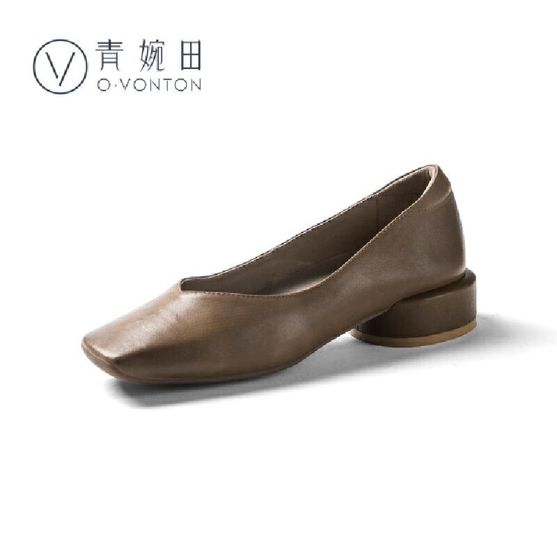 青婉田复古方头奶奶鞋女圆粗跟个性浅口套脚鞋子舒适休闲真皮女鞋尺码正常,脚感舒适,头层牛皮