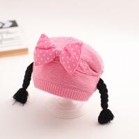 婴儿帽子秋冬女宝宝公主假发毛线帽3-6-12个月可爱女童一岁保暖潮 均码