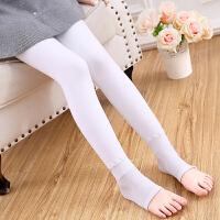 儿童丝袜女童打底裤秋冬季踩脚裤宝宝白色舞蹈袜子练功加绒加厚