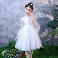 女童公主裙春夏季儿童演出礼服裙中大童夏装白色连衣裙蓬蓬纱裙子