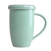 陶瓷故事 龙泉窑青瓷茶杯 陶瓷带盖手柄淑女杯清新风格 梅子青