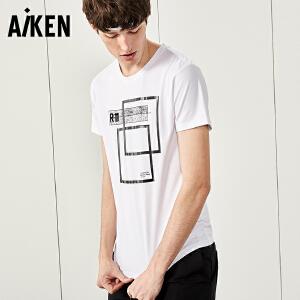 森马旗下Aiken短袖T恤男士夏装新款圆领潮牌半袖体恤几何印花上衣