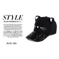 帽子女鸭舌帽韩版百搭棒球帽猫耳朵时尚学生潮休闲出游甜美运动帽 黑色 黑色亮片