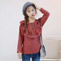 韩版女童荷叶边格子长袖上衣秋新款中大童童装