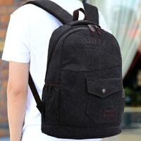 简约韩版潮流双肩包旅行背包休闲牛仔帆布电脑包男女高中学生书包