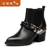 【领�幌碌チ⒓�120】金粉世家 红蜻蜓旗下 冬季新款女短靴欧美切尔西靴真皮靴