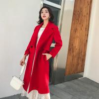 仿羊绒大衣女中长款2018秋冬新款修身红色郝本风双面羊毛呢外套 红色