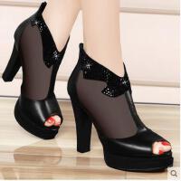 邻家天使春季新款粗跟鱼嘴凉鞋单鞋女防水台网纱高跟潮夏款女士女鞋子NEB-911