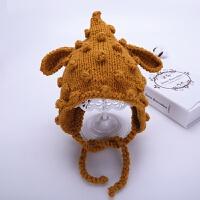 儿童帽子冬季手工宝宝毛线帽5-30个月护耳系带婴儿针织帽男童女童 黄色 手工葡萄粒帽 均码