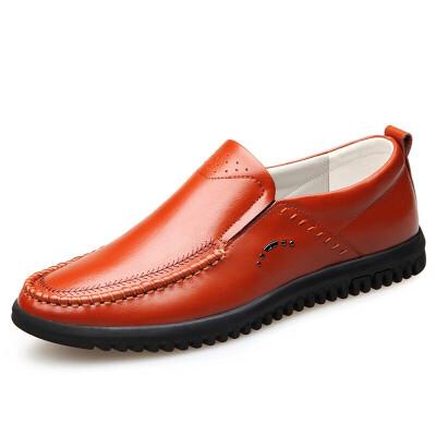 皮鞋男真皮冬秋新款一脚蹬爸爸鞋百搭韩版透气软底中年男士休闲鞋真皮