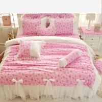 韩版梦幻公主风系列可爱蕾丝花边婚庆床裙床上用品四件套 粉红色 粉色