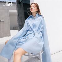 七格格欧美小心机时尚衬衫连衣裙女士夏装新款bf风港味宽松裙子气质