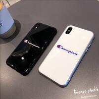 欧美个性潮牌苹果8plus手机壳iPhonex玻璃7P男女款6s防摔xs max套 苹果x/xs 黑色潮牌