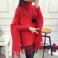 秋冬款韩版高领套头毛衣女士中长款流苏蝙蝠衫外套宽松大码针织衫 均码
