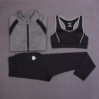 秋冬新款瑜伽服健身运动修身三件套女士运动跑步长袖外套套装速干排汗透气舒适 X