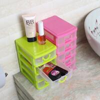 创意多层塑料收纳盒 发饰首饰品小抽屉层柜 办公室桌面整理储物盒 绿色 2层