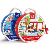 美国TOI 儿童早教四合一宝宝阶梯启蒙大块故事拼图玩具3-4-5-6岁