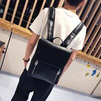 双肩包男士韩版潮流休闲书包学生背包定型款时尚潮包2018新款男包 黑色 现货