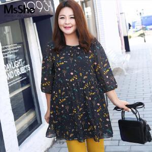 MsSHE加大码女装2017新款秋装上衣文艺范胖妹妹雪纺裙衫M1710540