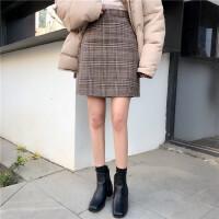 复古百搭高腰毛呢格子半身裙女春季新款韩版修身显瘦包臀裙短裙