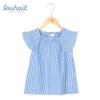 水孩儿souhait童装夏季新款女童裙式上衣小女孩短袖T恤条纹夏装AZSXM460
