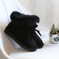 冬季鞋子2018新款雪地靴女短筒韩版百搭学生兔毛保暖加绒棉短靴潮