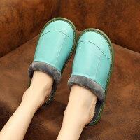 秋冬季绵羊皮拖鞋室内居家防滑家居木地板厚底家用男女保暖棉拖鞋