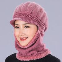 №【2019新款】老年人女士带的帽子围脖一体中老年冬天加厚兔毛毛线冬帽 均码\有弹力