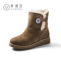 青婉田纽扣设计韩版雪地靴女皮毛一体冬新款学生时尚加厚平底短靴