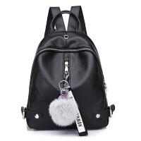 双肩包女新款软皮Pu小背包休闲时尚妈咪包百搭学生旅行背包潮 黑色