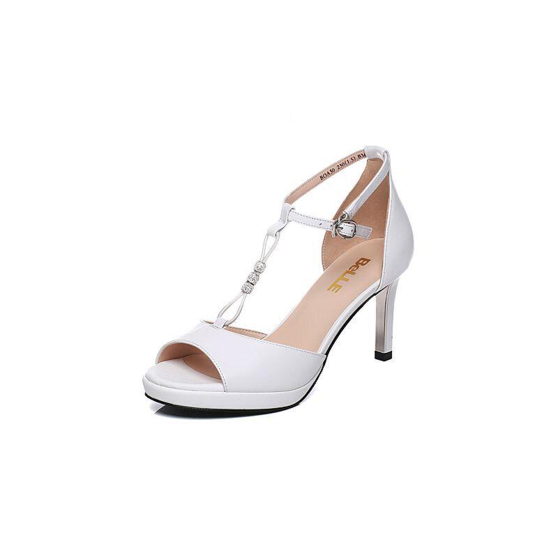 Belle/百丽夏季专柜同款牛皮细高跟女凉鞋BOA30BL7