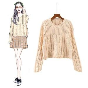 VIPEBUY 2018秋冬季新款圆领套头学生韩版风长袖纯色毛衣宽松打底针织衫女潮