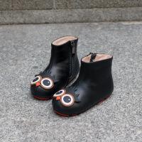 №【2019新款】冬天小朋友穿的�����和�卡通�B牛皮�小女童靴子秋冬公主����短靴