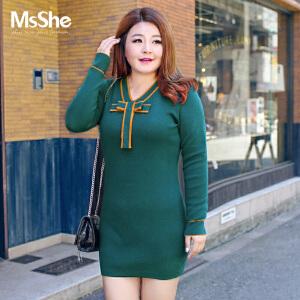 MsShe加大码女装2017新款秋装弹力修身蝴蝶结针织连衣裙M1740257
