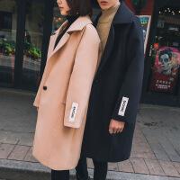 2018秋冬新款男风衣中长款韩版呢子大衣风情侣毛呢外套男女披风