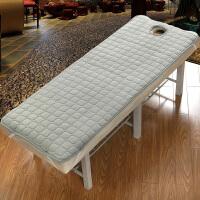 美容院床垫spa床褥保护垫按摩院美容床垫带洞防滑加厚儿童婴儿床 灰色 绒加厚 方头 80x190 开孔