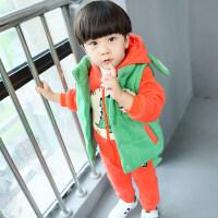 童装男童秋冬装套装新款儿童加绒加厚卫衣三件套宝宝休闲运动套装