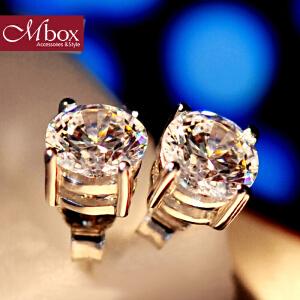 新年礼物Mbox耳钉 气质女款韩国版S925银镶嵌施华洛世奇锆石简约耳钉耳环